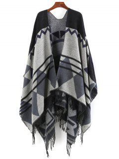 Unique Fringed Oversized Shawl Scarf - Black One Szie