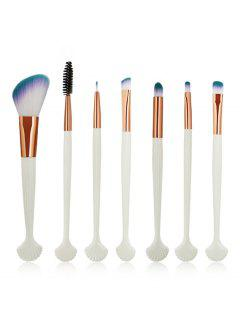 7Pcs Shell Shaped Eyeshadow Blending Eyebrow Makeup Brush Suit - White