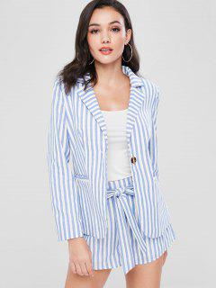 ZAFUL Striped Blazer And Belted Shorts Set - Pastel Blue M