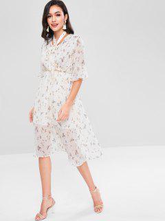 Floral Surplice Dress - Crystal Cream Xl