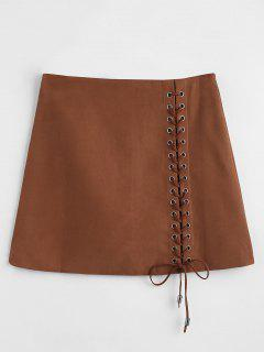 Mini Lace-up Skirt - Deep Brown Xl