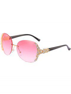 Vintage Rhinestone Inlaid Rimless Sunglasses - Pink