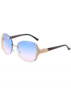 Vintage Rhinestone Inlaid Rimless Sunglasses - Deep Sky Blue