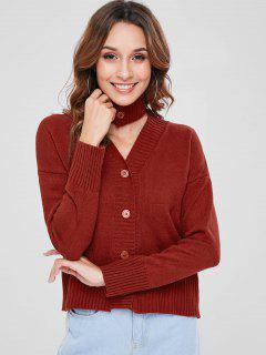 Button Up Choker Cardigan - Red Wine 2xl