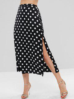 Polka Dot Split Midi Skirt - Black Xl
