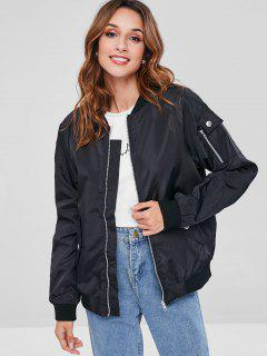 Ribbed Trim Bomber Jackets - Black M