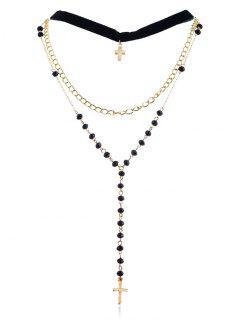 Collier De Chaîne De Perles De Croix De Couche - Or