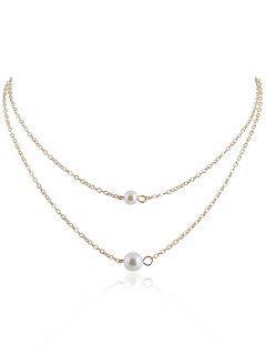 Collier Chaîne Superposé Avec Perle Artificielle - Or