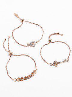 Ensemble De Bracelets En Strass Key Heart Design - Or