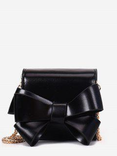 Bow Solid Chain Crossbody Bag - Black