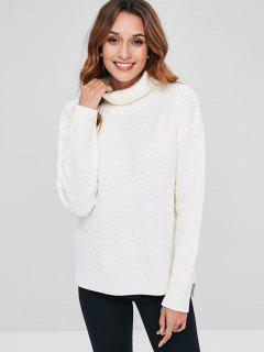 Turtleneck Ribbed Drop Shoulder Sweater - White