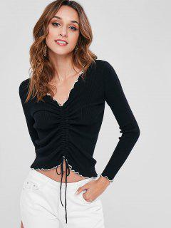 Ribbed Contrast Piping Tie Tuched Sweater - Black