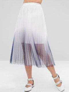 ZAFUL Ombre Layered Tulle Full Midi Skirt - White S