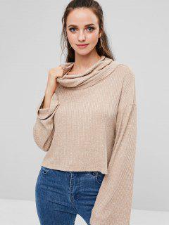 ZAFUL High Low Slit Cowl Neck Knit Sweater - Apricot M