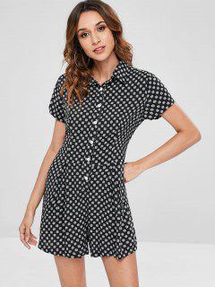 ZAFUL Button Up Snowflake Romper - Black L
