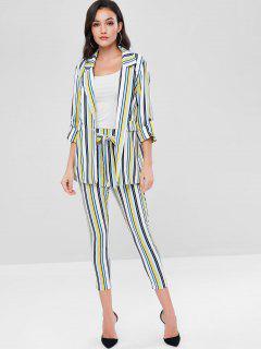 ZAFUL Striped Blazer And Belted Pants Set - Multi L