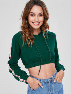 ZAFUL Striped Patched Crop Hoodie - Deep Green L