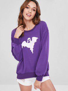 ZAFUL Oversized Ghost Graphic Sweatshirt - Purple Iris S