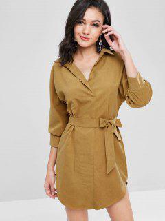 Long Sleeve Mini Belted Shirt Dress - Golden Brown L