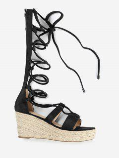 ZAFUL Lace Up Suede Espadrille Sandals - Black 38