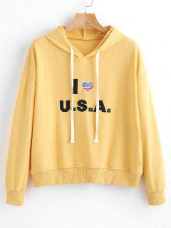 Cotton Graphic Hoodie - Corn Yellow