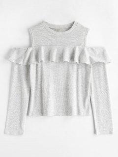 Cold Shoulder Ruffle T-shirt - Light Gray M