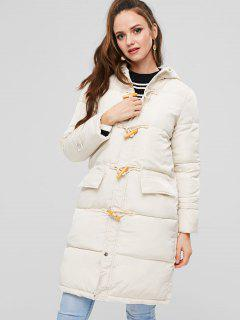 Puffer Quilted Winter Coat - Warm White L