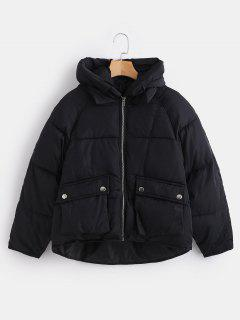 Pockets Hooded Quilted Jacket - Black Xl