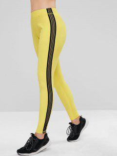 ZAFUL High Waisted Contrast Side Workout Leggings - Yellow L