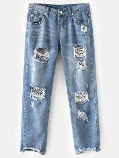 High Waist Ripped Jeans With Fishnet Stocking - Light Blue L