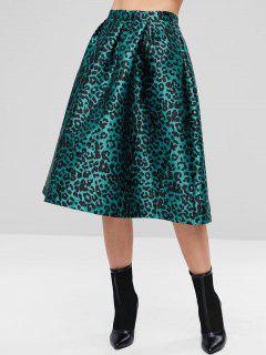ZAFUL Leopard Print Zipper Flare Skirt - Light Sea Green L