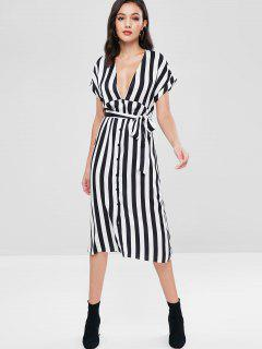 ZAFUL Low Cut Striped Belted Dress - Black M