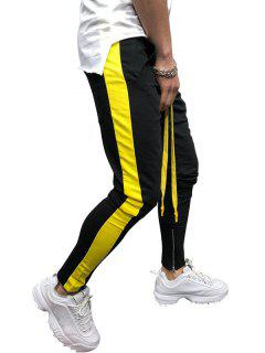 Side Striped Contrast Sports Pants - Black L