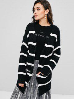 ZAFUL Striped Open Front Cardigan - Black