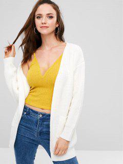 ZAFUL Pockets Open Front Cardigan - White