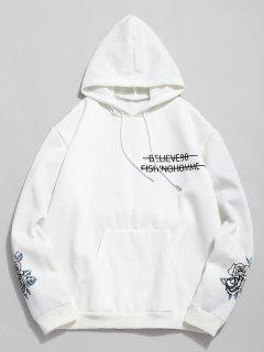 ZAFUL Rose Letter Print Fleece Hoodie - White Xl