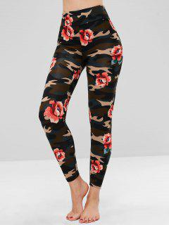 Camo Floral Clashing Print Soft Leggings - Multi