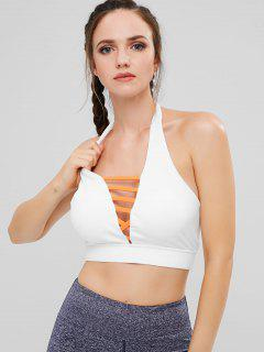 ZAFUL Lattice Halter Sports Bra - White S