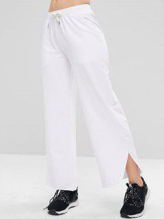 ZAFUL Raw Hem Wide Leg Sports Sweatpants - White Xl