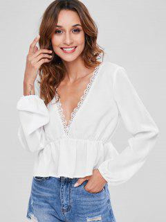 ZAFUL Low Back Lace Panel Blouse - White M