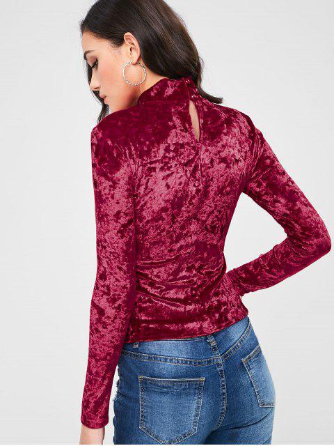 unique Long Sleeve Crushed Velvet Mock Neck Tee - RED L Mobile