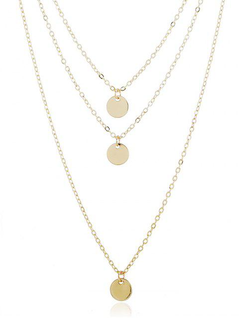 shop Layer Metal Disc Necklace - GOLD  Mobile