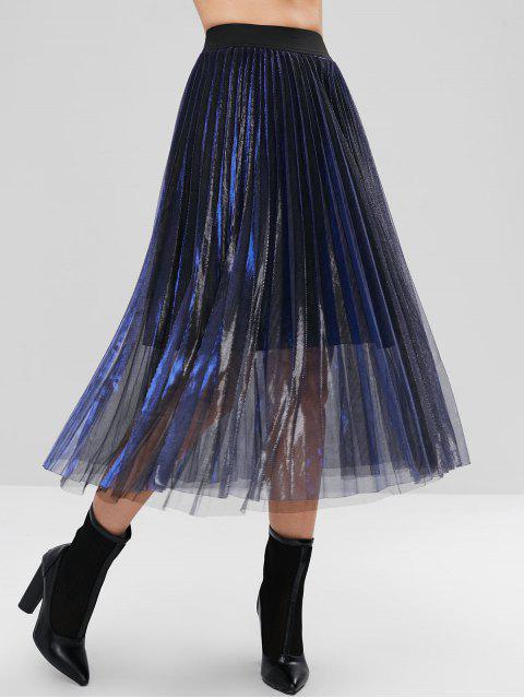 Falda midi de tul plisada y reflectante en capas - Marina de Guerra L Mobile