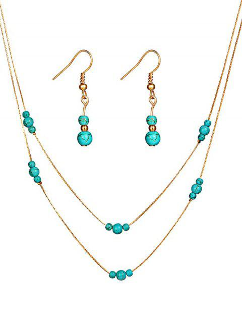 trendy Stylish Faux Turquoise Beaded Necklace Earrings Set - GOLD  Mobile