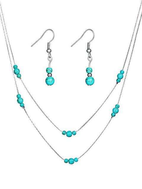 unique Stylish Faux Turquoise Beaded Necklace Earrings Set - SILVER  Mobile
