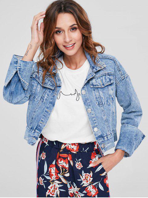 Button Up Distressed Jeansjacke - Denim Blau M Mobile