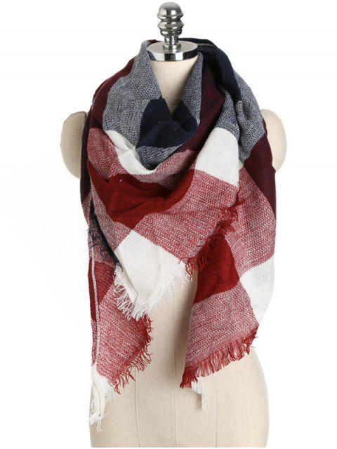 buy Checked Pattern Fringed Long Scarf - RED WINE ONE SZIE Mobile