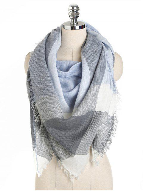 womens Checked Pattern Fringed Long Scarf - BLUE GRAY ONE SZIE Mobile