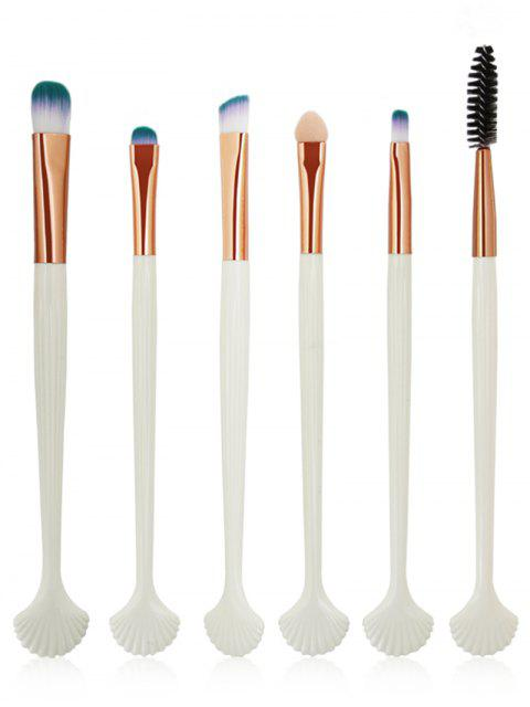 women 6Pcs Shell Shaped Eyeshadow Eyebrow Blending Cosmetic Brush Suit - WHITE  Mobile
