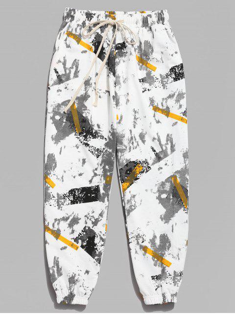 Pantalones Jogger con estampado de rayas de tinta - Blanco M Mobile